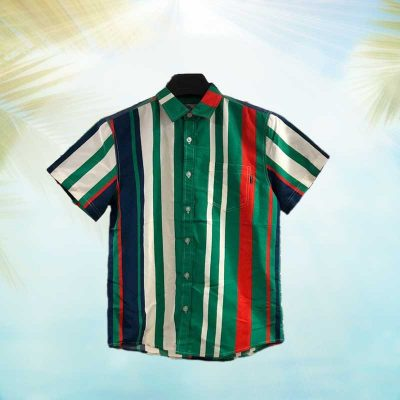 Men's Fashion Summer Stripe Short Sleeve Shirt