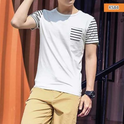 Men Fashion Striped Round Neck T-shirt