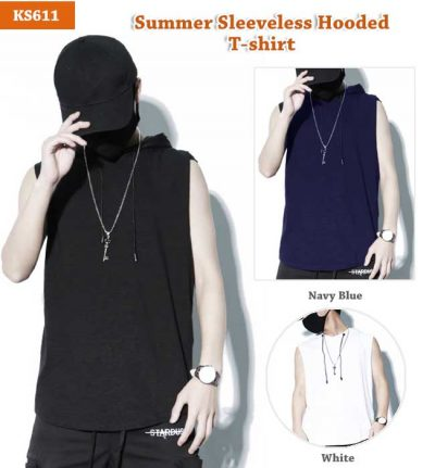 Men's Summer Sleeveless Hooded T-shirt