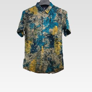 Mens Summer Fashion Casual Loose Color Blocks Printing Shirts